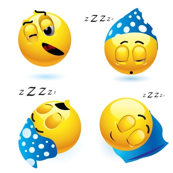 Sleeping smiley balls in different position